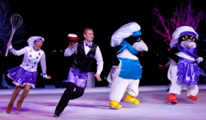 "Skaters performing to ""Hot Chocolate"" at SeaWorld's Winter Wonderland on Ice"