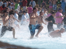 Running into cold water Polar Plunge Aquatica