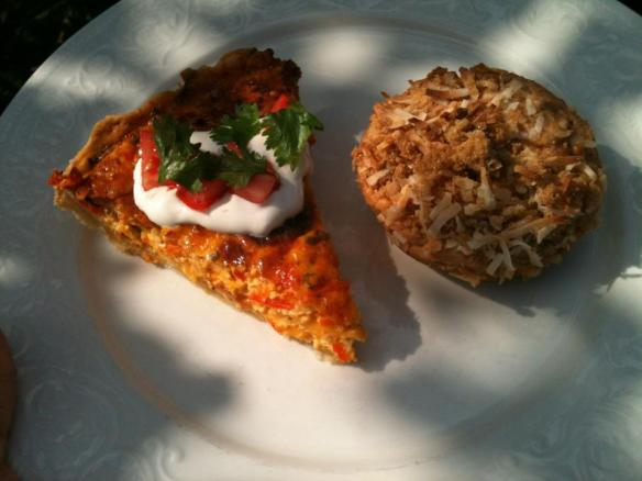 This recipe for Mexican quiche with tomatoes, sour cream, and cilantro is easy and delicious.