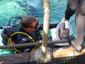 """Discovery Cove SeaVentures is an underwater walking tour. Here I'm """"going down!"""""""