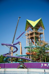 The Final Slide Section is Installed at Ihu's Breakaway Falls at Aquatica, SeaWorld's Waterpark™